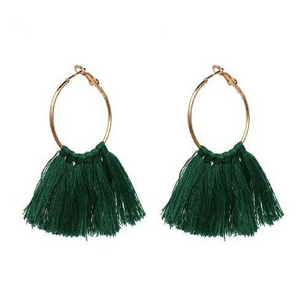Round Charm Tassel Earrings - Green