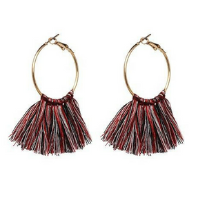 Round Charm Tassel Earrings - Multi