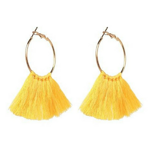 Round Charm Tassel Earrings - Yellow