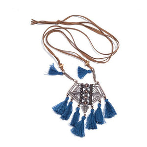 Sweater Chain Tassel Necklace - Blue