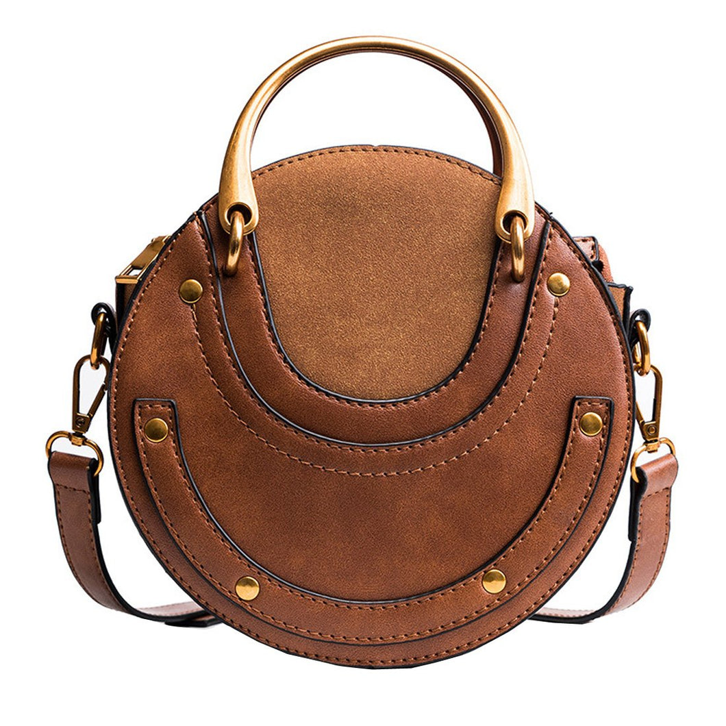 Round Handle Crossbody Bag - Brown