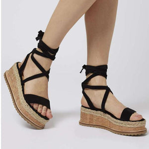 Lace Up Flat Sandals  - Black