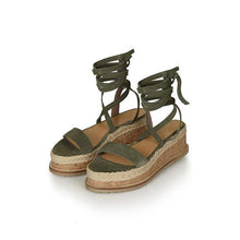 Lace Up Flat Sandals - Green