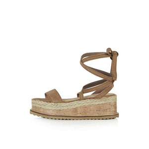 Lace Up Flat Sandals - Brown