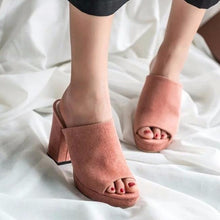 Suede Square Heel Shoes