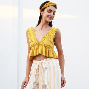 V-Neck Chiffon Crop Top