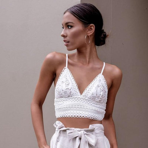 Lace V-Neck Crop Top