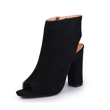 Peep Toe Zip Boots - Black