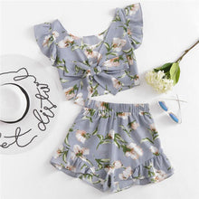 Floral Bow Tie Frill Top & Shorts Set