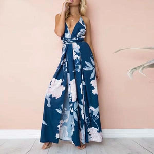 V-Neck Floral Jumpsuit - Dark Blue