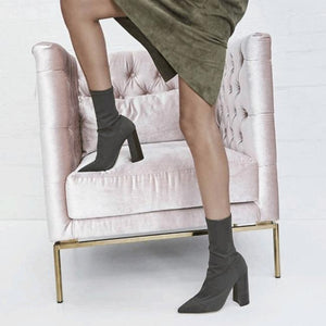Pointed Toe High Heel Boots - Green