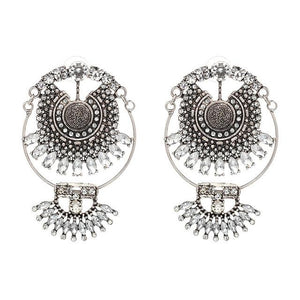Vintage Crystal Statement Earrings - Silver
