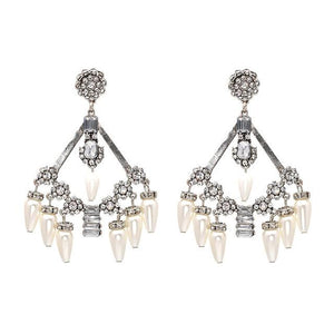 Vintage Crystal Drop Earrings - Silver