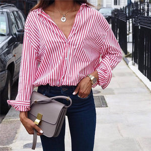 Casual Striped Long Sleeve Turn Down Shirt
