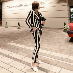 White striped slim suit
