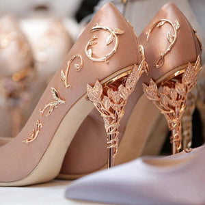 Elegant Silk Women Pumps High Heels Rhinestone Flower Design