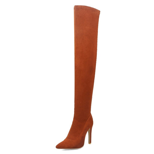Over the knee boots with thin heel
