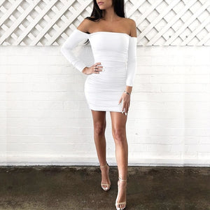 Neck Ruffled off shoulder Party Dress