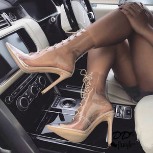 PVC Transparent Sandals Lace up Cross-tie High Heel Gladiator Sandal