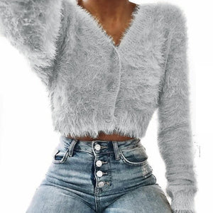 Long Sleeve Cropped Mohair Sweater