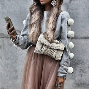 Long Sleeve Fur Ball Sweater