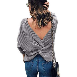Crisscross Open Back Knit Sweater