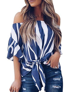Striped Off Shoulder Tie Knot Top