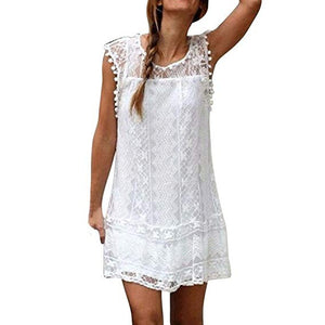Pleated Lace Mini White Dress