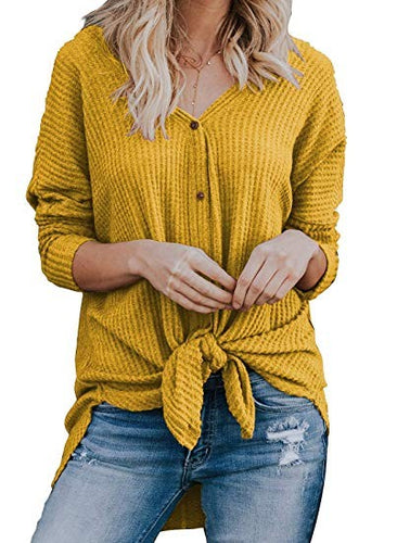 V Neck Button Front Knot Top