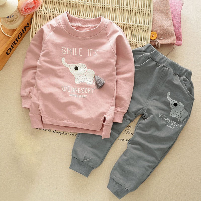 Cartoon Print T-shirt + Pants Set