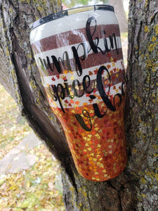 Pumpkin spice vibes coffee cup, Personalized Glitter Tumbler, Monogram Tumbler, Glitter Cup, Glitter Tumbler, Glitter Stainless steel