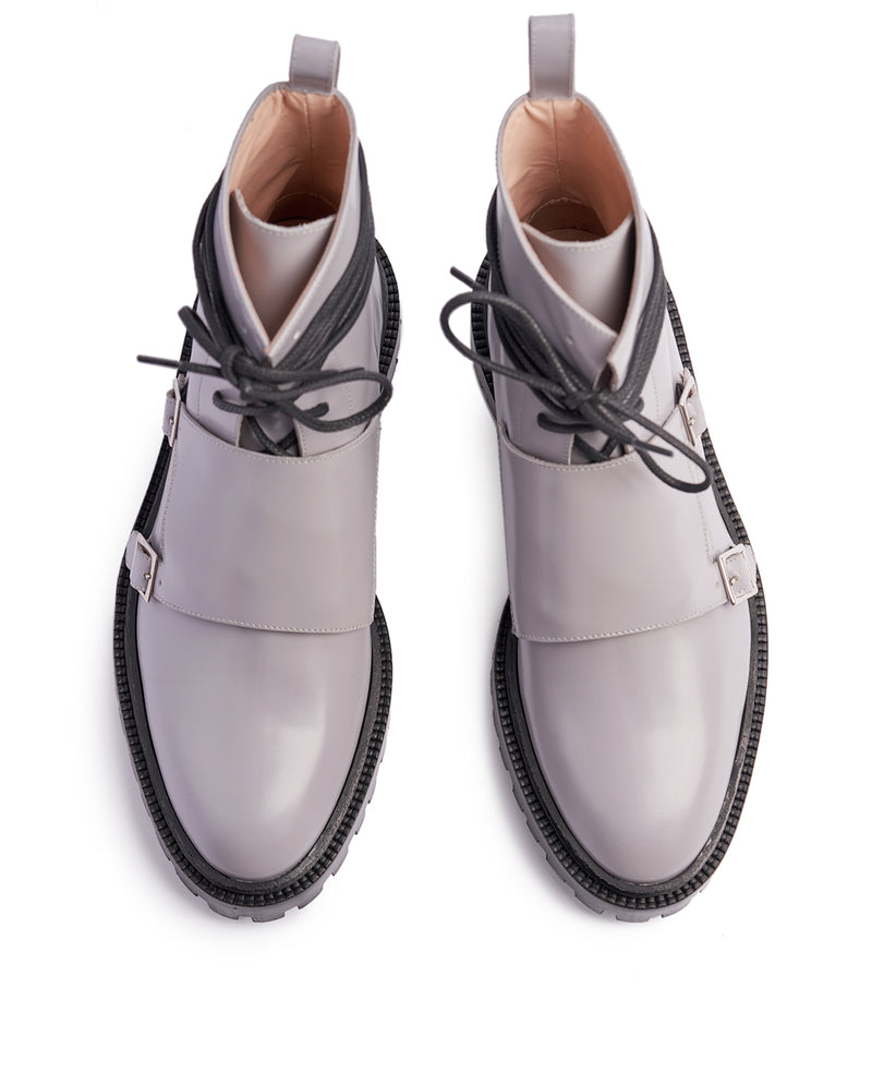 Pale Grey Monk Boots