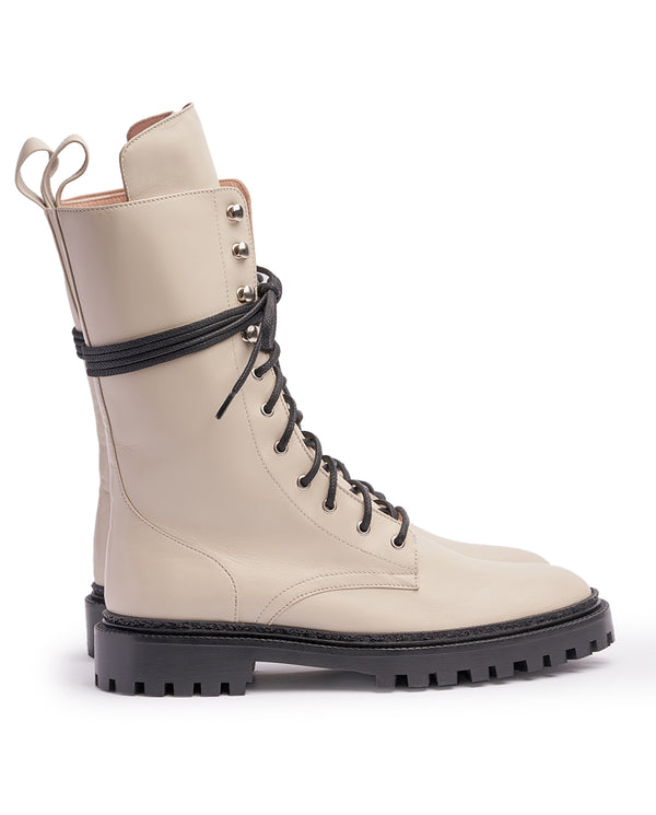 Ivory White Combat Boots