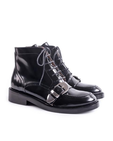 BUCKLED BLACK LACE UP ANKLE BOOTS