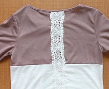 Load image into Gallery viewer, Lace Back Long Sleeve Blouse