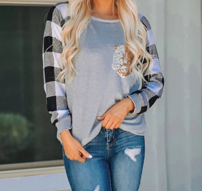 Alisha's Plaid Sequins Long Sleeve Top