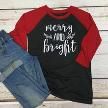 Load image into Gallery viewer, Merry and Bright Long Sleeve Vintage Tee