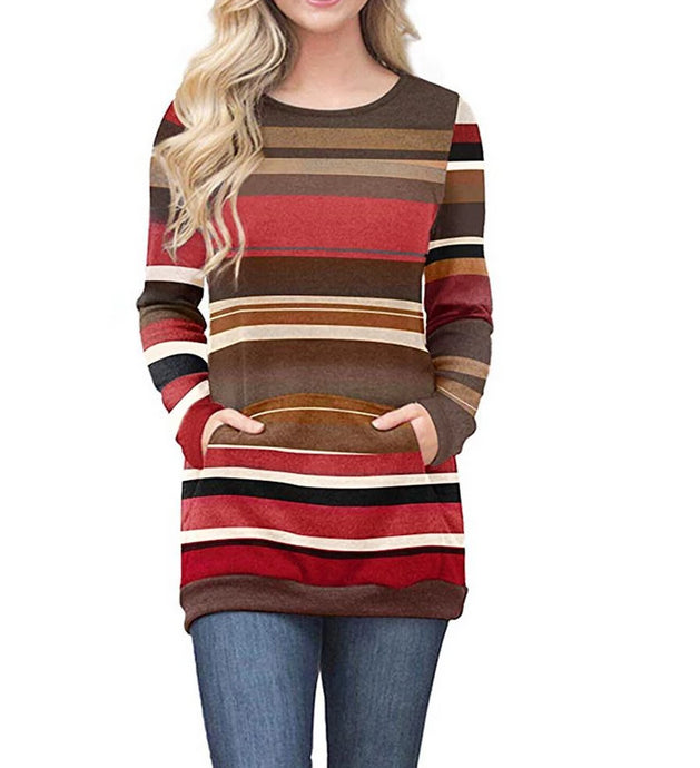 Autumn Striped Tunic w/Pockets