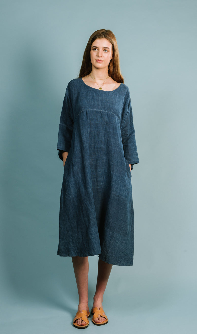 Smock Dress in Natural Indigo Linen / Cotton