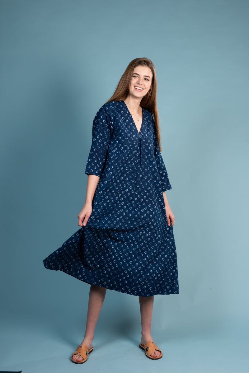 Natural indigo block print easy fitting dress