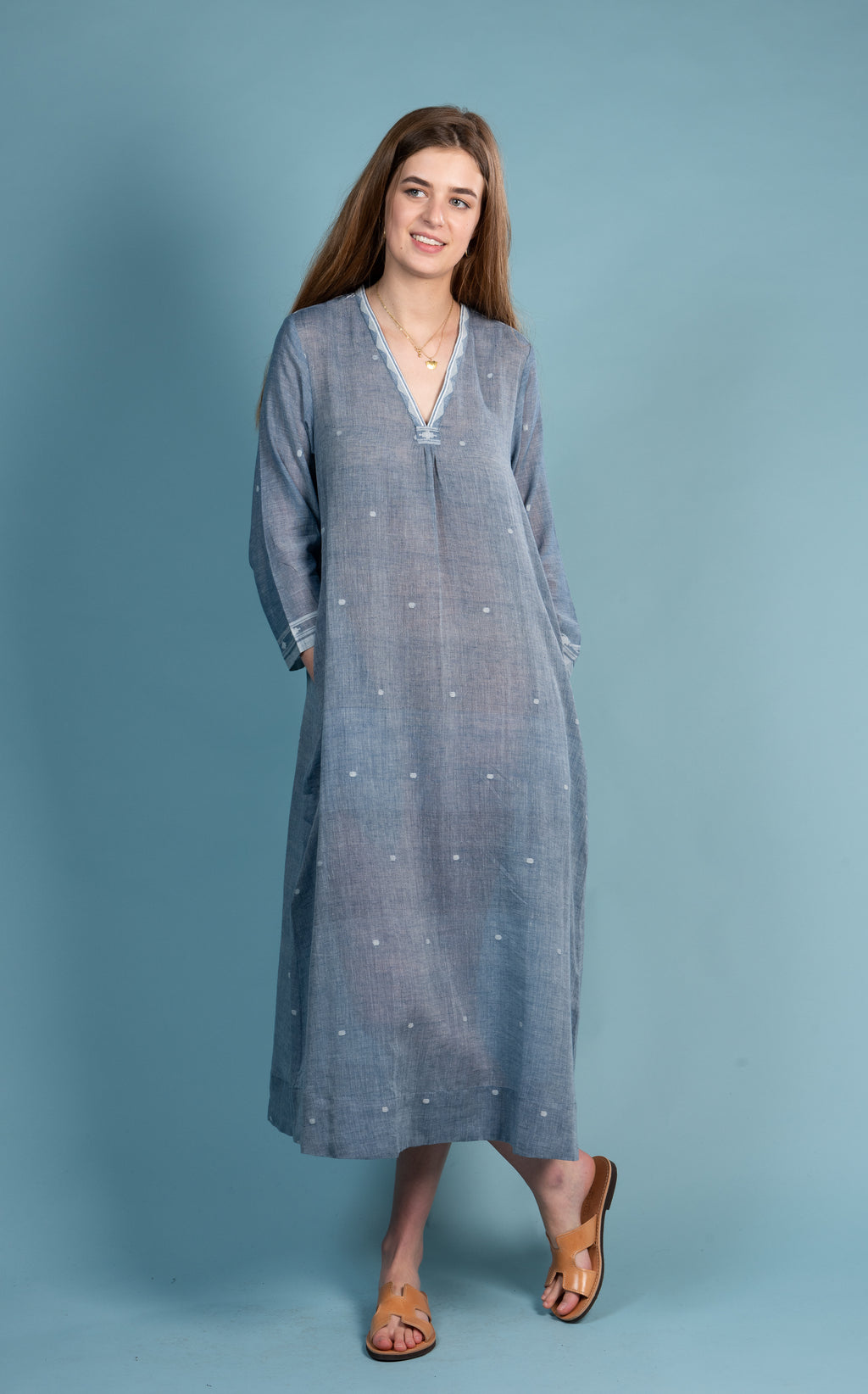 Long V Neck Dress in Fine Jamdani