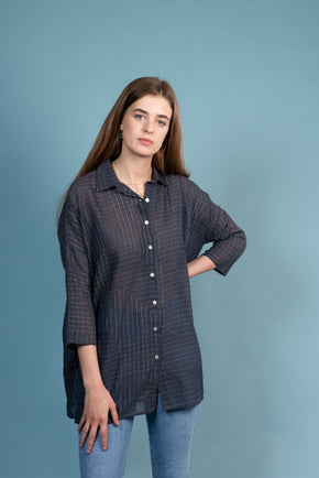 Oversized Shirt in Charcoal / Blue Abstract Lines