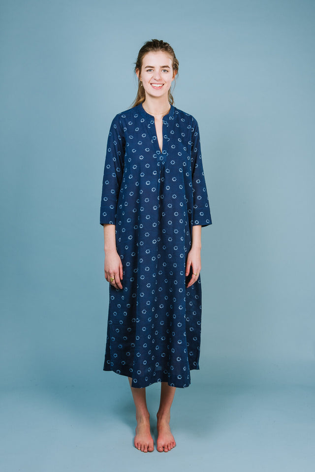 V neck classic dress in indigo hand block print