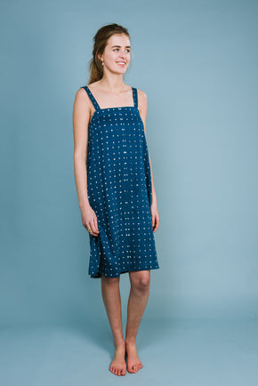 Knee length tank dress in mid indigo cotton bandhini