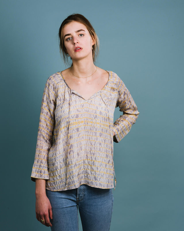 Yellow/grey unique silk shibori peasant top with ties