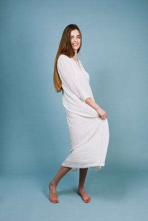 ONE REMAINING! Long V Neck Dress in White Abstract Lines