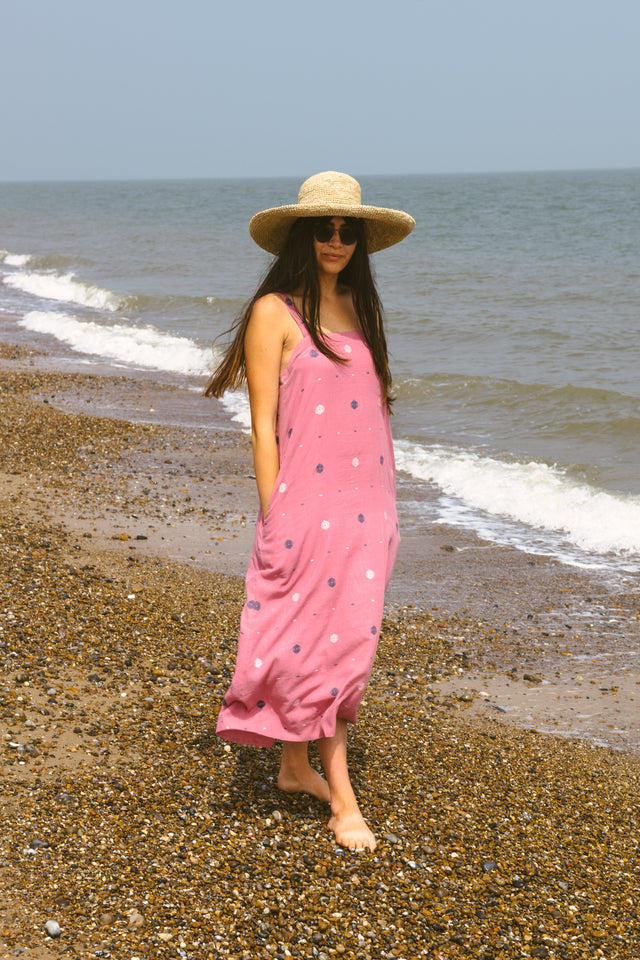 Long Tank Dress in Dusty Pink Jamdani *one remaining size S