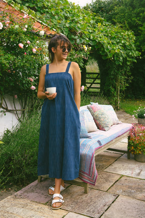Tank Dress in Denim Blue Khadi