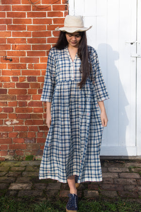 Jamdani check running stitch dress