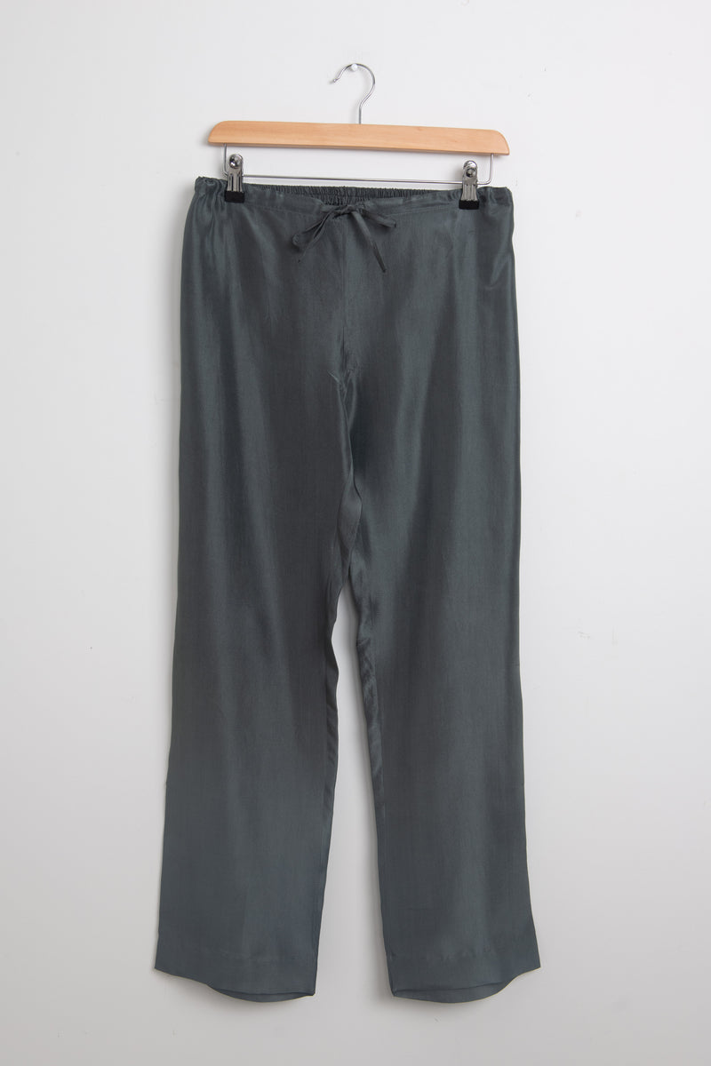 Khaki silk drawstring trousers